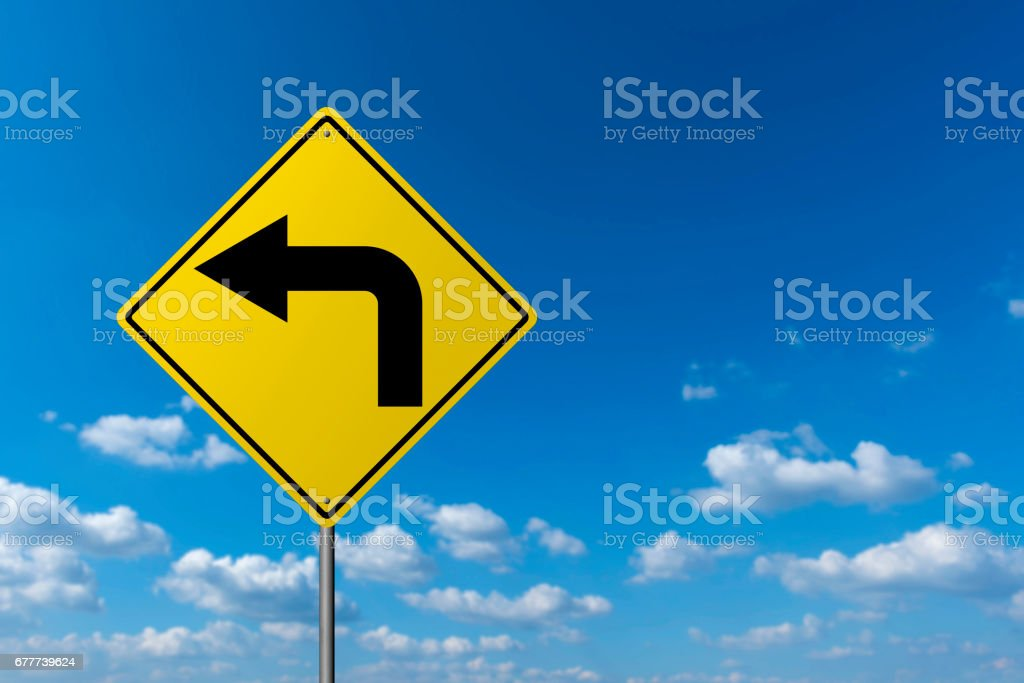 Left Turn Sign - Road Warning Sign stock photo