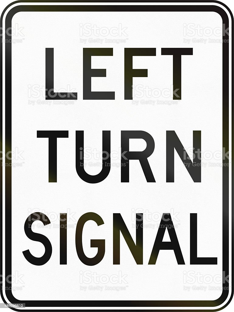 Left Turn Signal in Canada stock photo