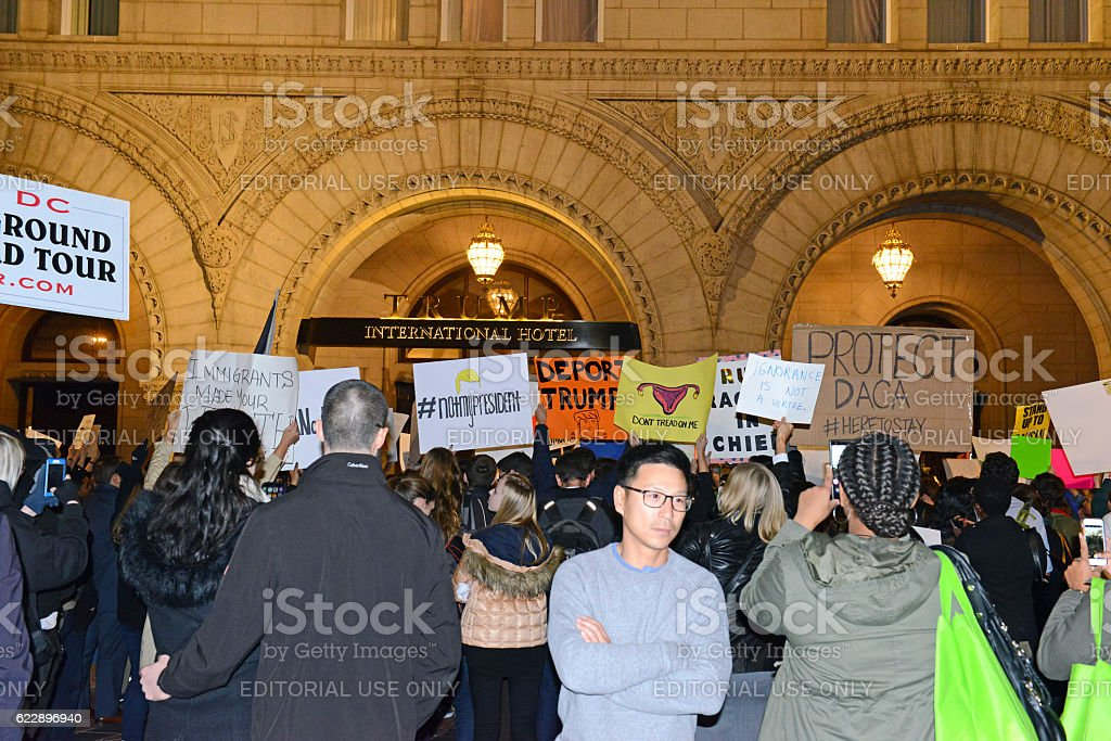 Leftists and instigators protesting Donald Trump election win stock photo
