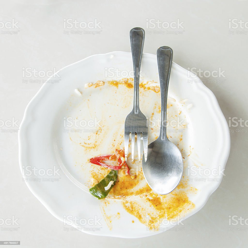 Leftover food on place after breakfast stock photo