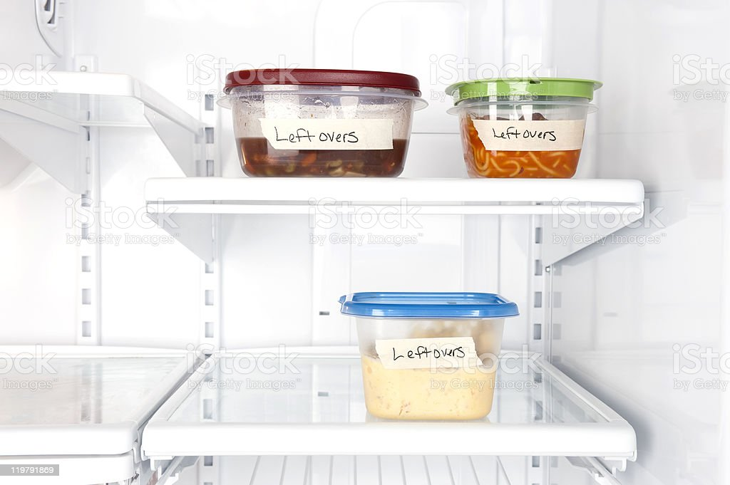 Leftovers in refrigerator stock photo