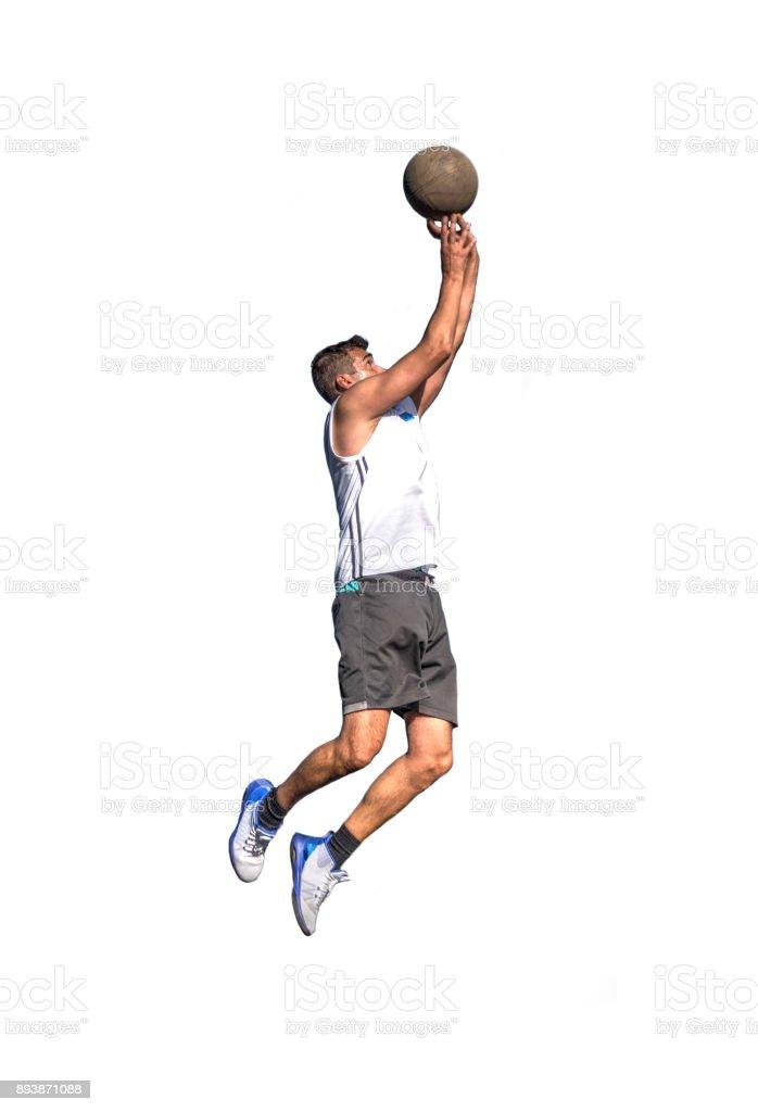 Lefty basketball player on white stock photo