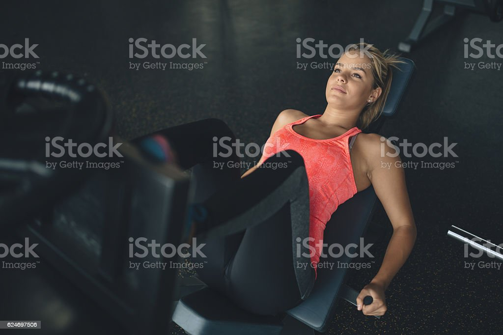 Leg day for beautiful woman stock photo