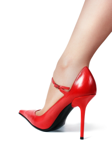 Leg In Red Shoe Stock Photo - Download Image Now