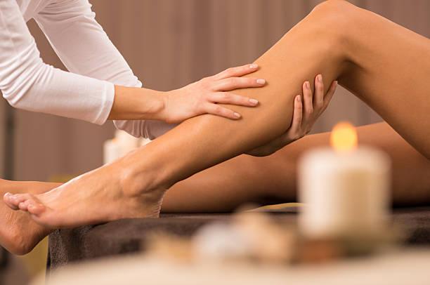Leg Massage At Spa Salon stock photo