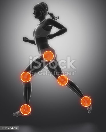 istock Leg most injured regoins in sport - ankle,hip,knee 611784766