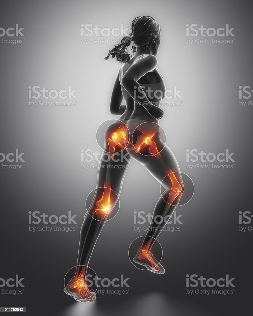 Leg most injured regoins in sport - ankle,hip,knee stock photo