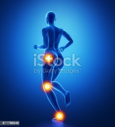 istock Leg most injured regoins in sport - ankle,hip,knee 611786548