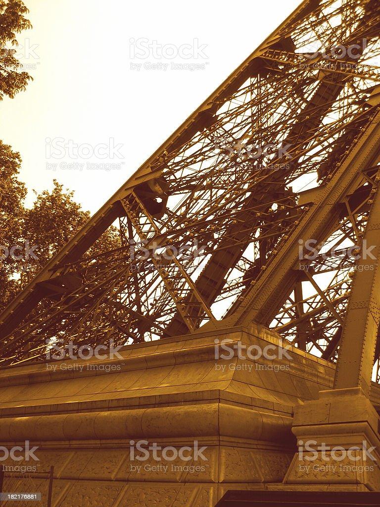 Leg of Eiffel Tower stock photo