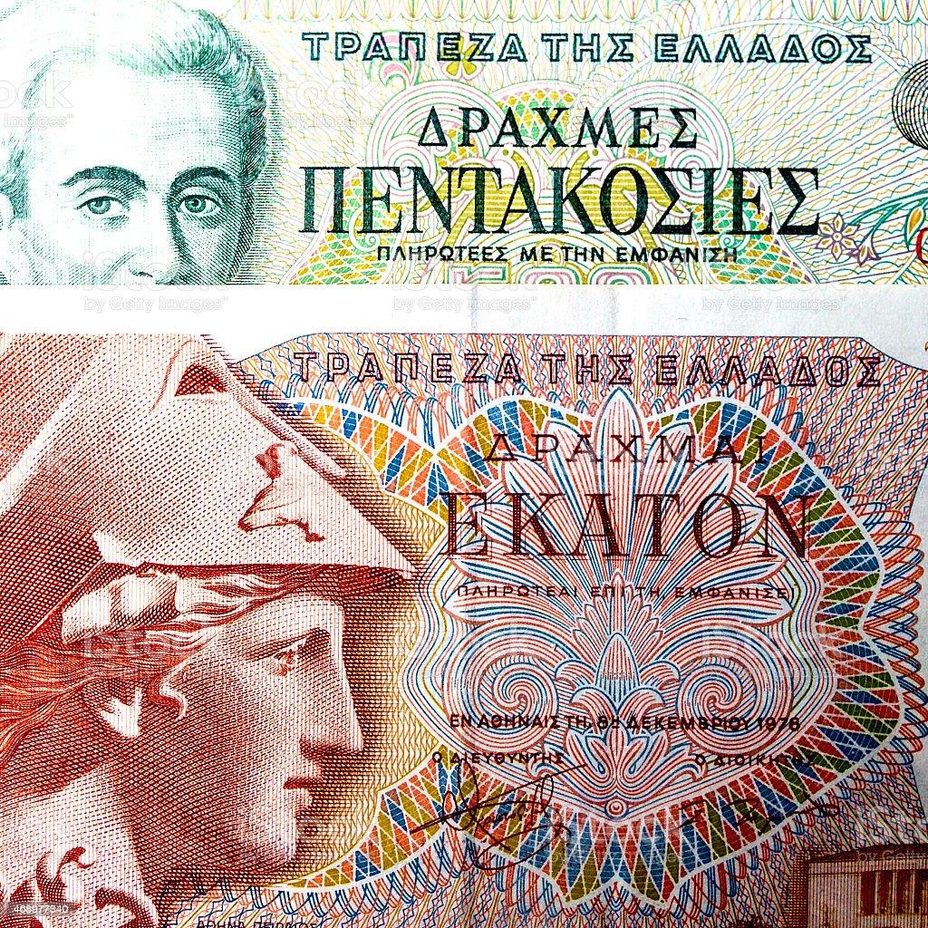 Legacy Greek Drachma banknotes stock photo