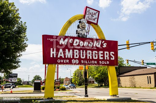 Muncie, US - August 3, 2016: Legacy McDonald's Hamburger Sign with Speedee. This Sign was Installed in 1956 and Restored in 2013 V