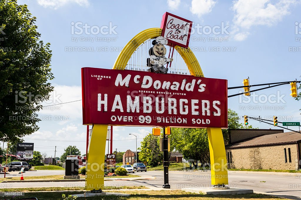 Legacy McDonald's Hamburger Sign with Speedee V stock photo