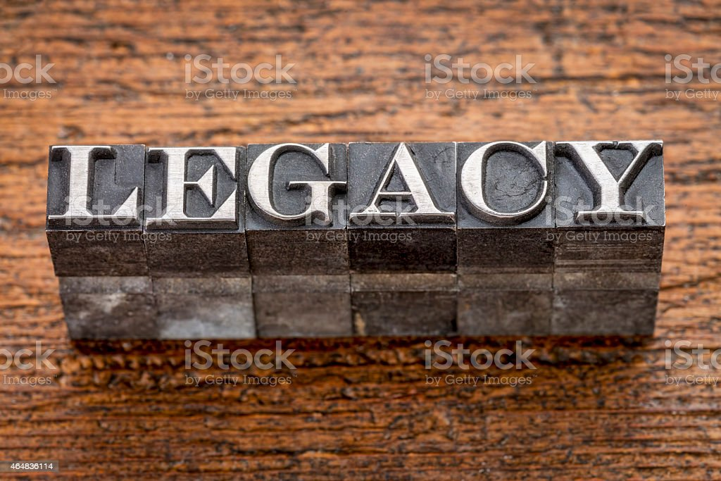 legacy word in metal type stock photo