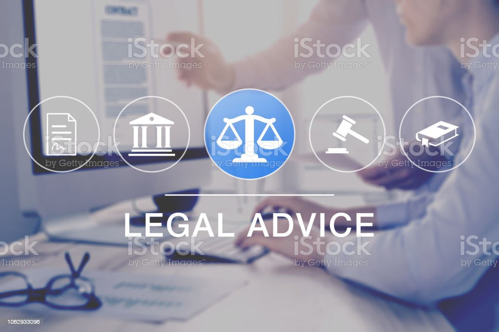 Legal advice and lawyer consulting service, concept with icons of...