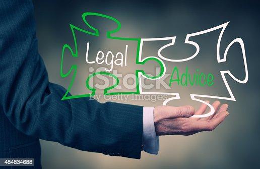 Businessman holding a Legal Advice concept puzzle.