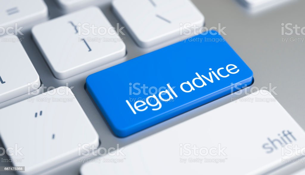 Legal Advice - Message on the Blue Keyboard Button. 3D stock photo