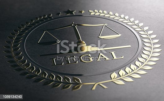 istock Legal Advice, Scales Of Justice, Golden Law Symbol Over Black Paper Background 1059134240