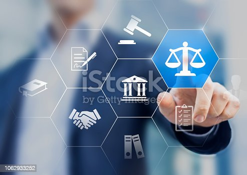 istock Legal advice service concept with lawyer working for justice, law, business legislation, and paperwork expert consulting, icons with person in background 1062933252