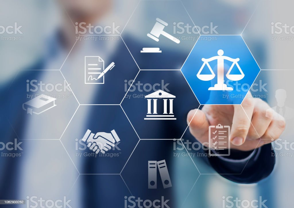 Legal advice service concept with lawyer working for justice, law, business legislation, and paperwork expert consulting, icons with person in background stock photo
