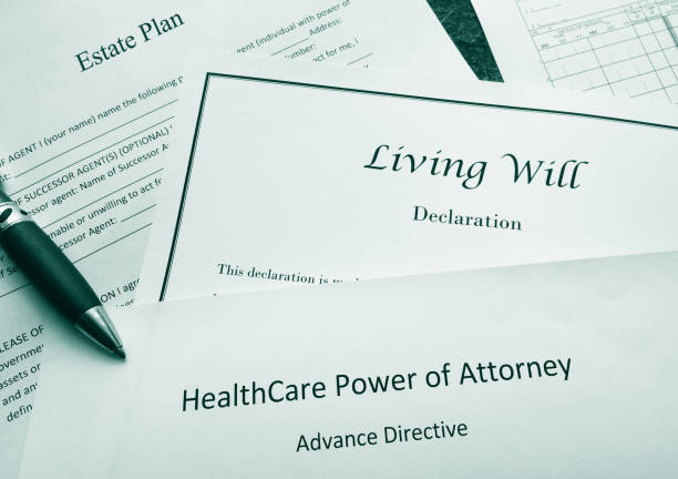 Legal and estate planning documents stock photo