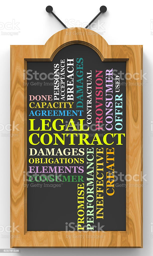 Legal Cobtract wordclouds chalkboard concept stock photo