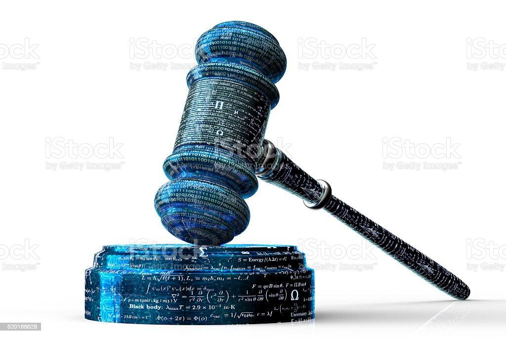 legal computer judge concept, cyber gavel,3D illustration stock photo
