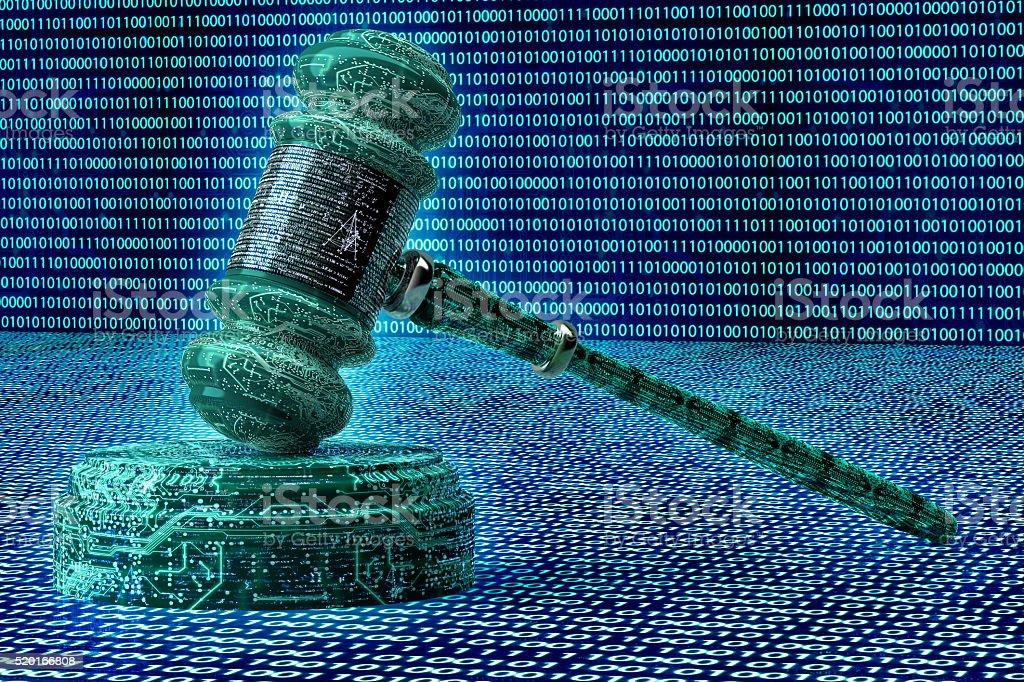 Juge informatique concept juridique, Cyber marteau 3D illustration - Photo
