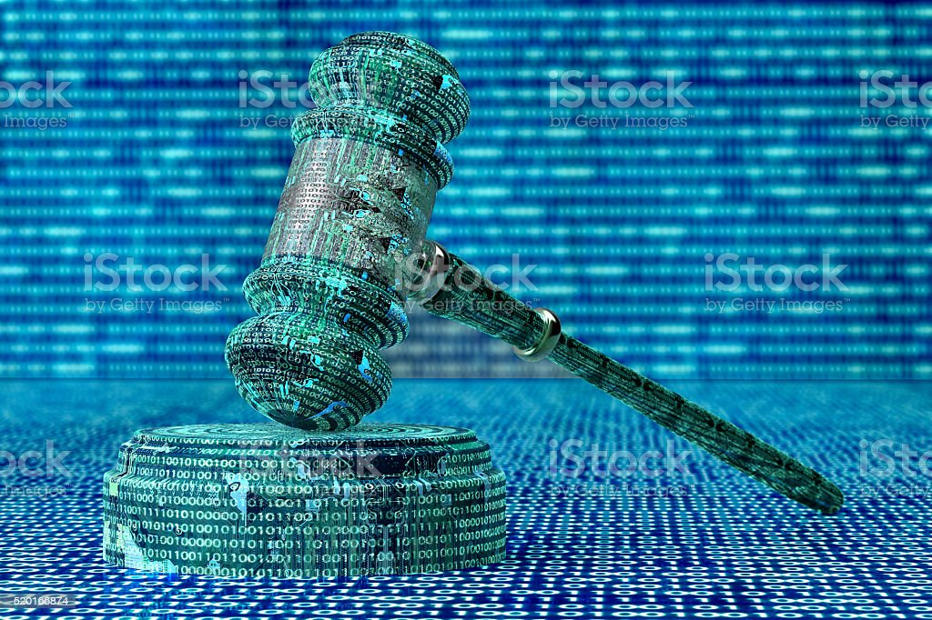 Rechtliche Computer Richter Konzept Cyber Richterhammer, 3D-illustration – Foto