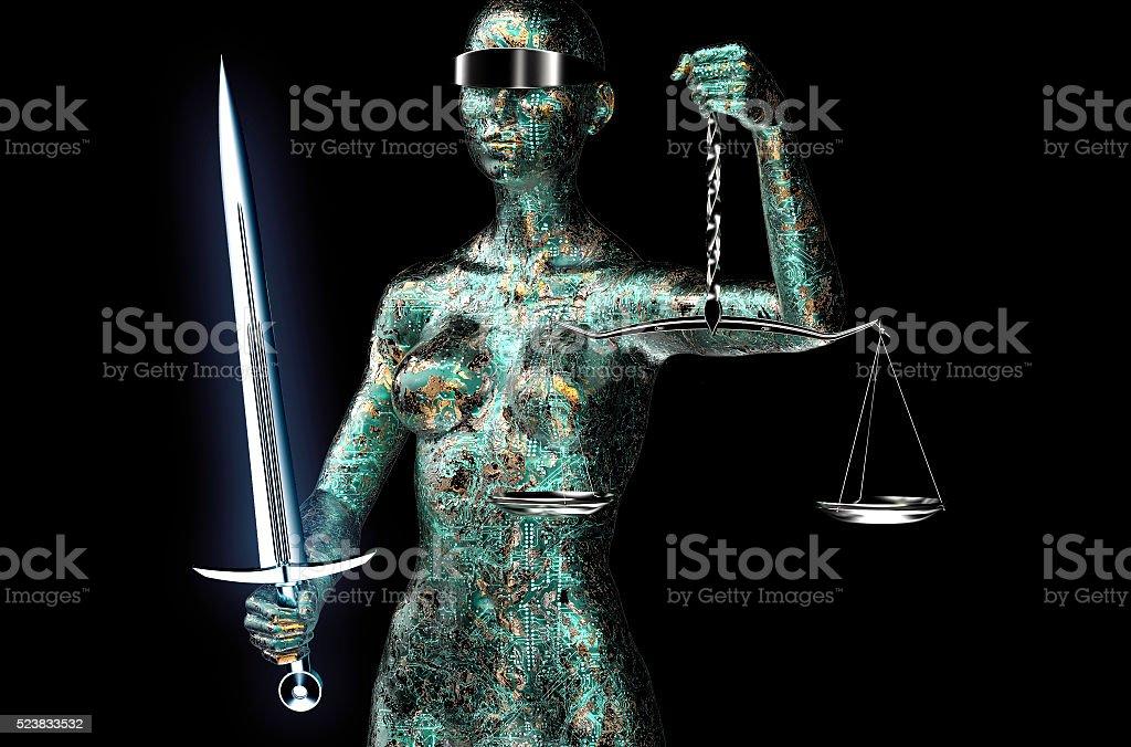 Juez concepto jurídico de ordenador, justicia aislado sobre negro - foto de stock