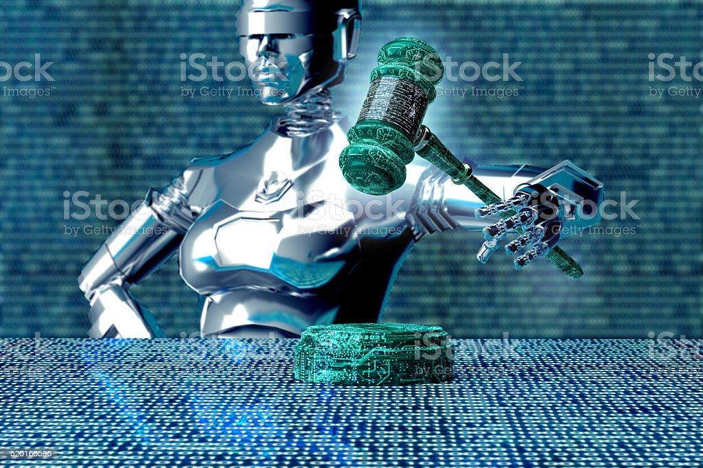 Rechtliche Computer Richter Konzept, Roboter mit Hammer des Richters, 3D-illustration – Foto