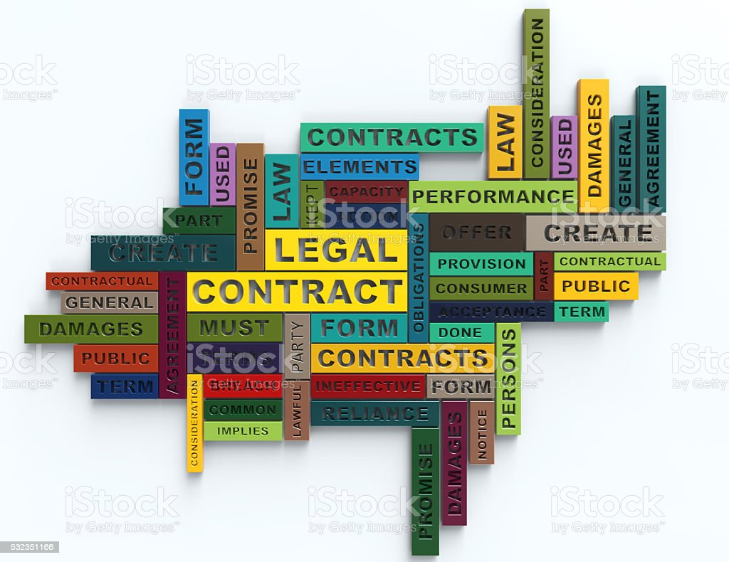 Legal Contract 3d colorful Crossword concept stock photo