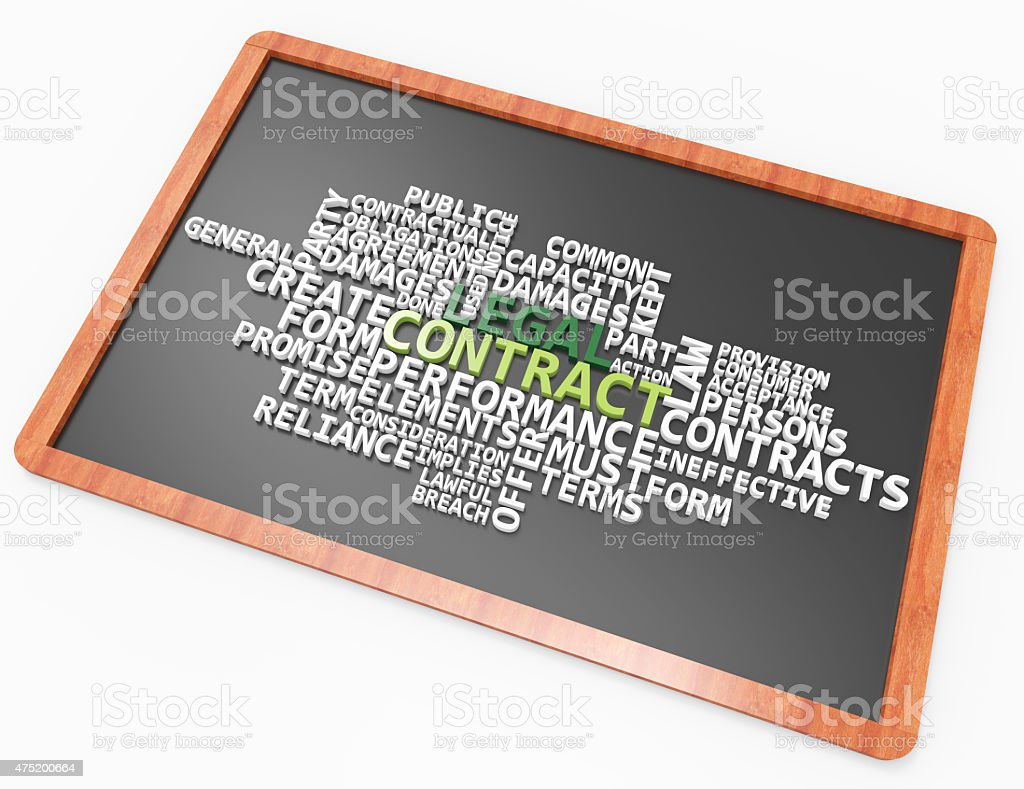 Legal Contract 3d wordcloud on chalkboard concept stock photo
