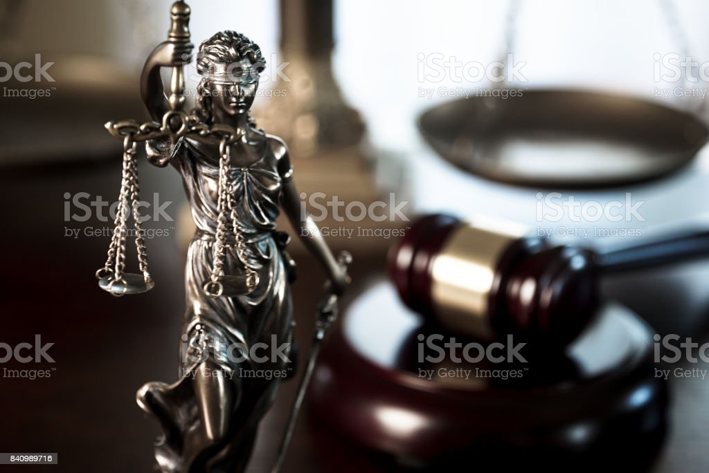 Legal law concept image. The Statue of Justice - lady justice or Iustitia stock photo