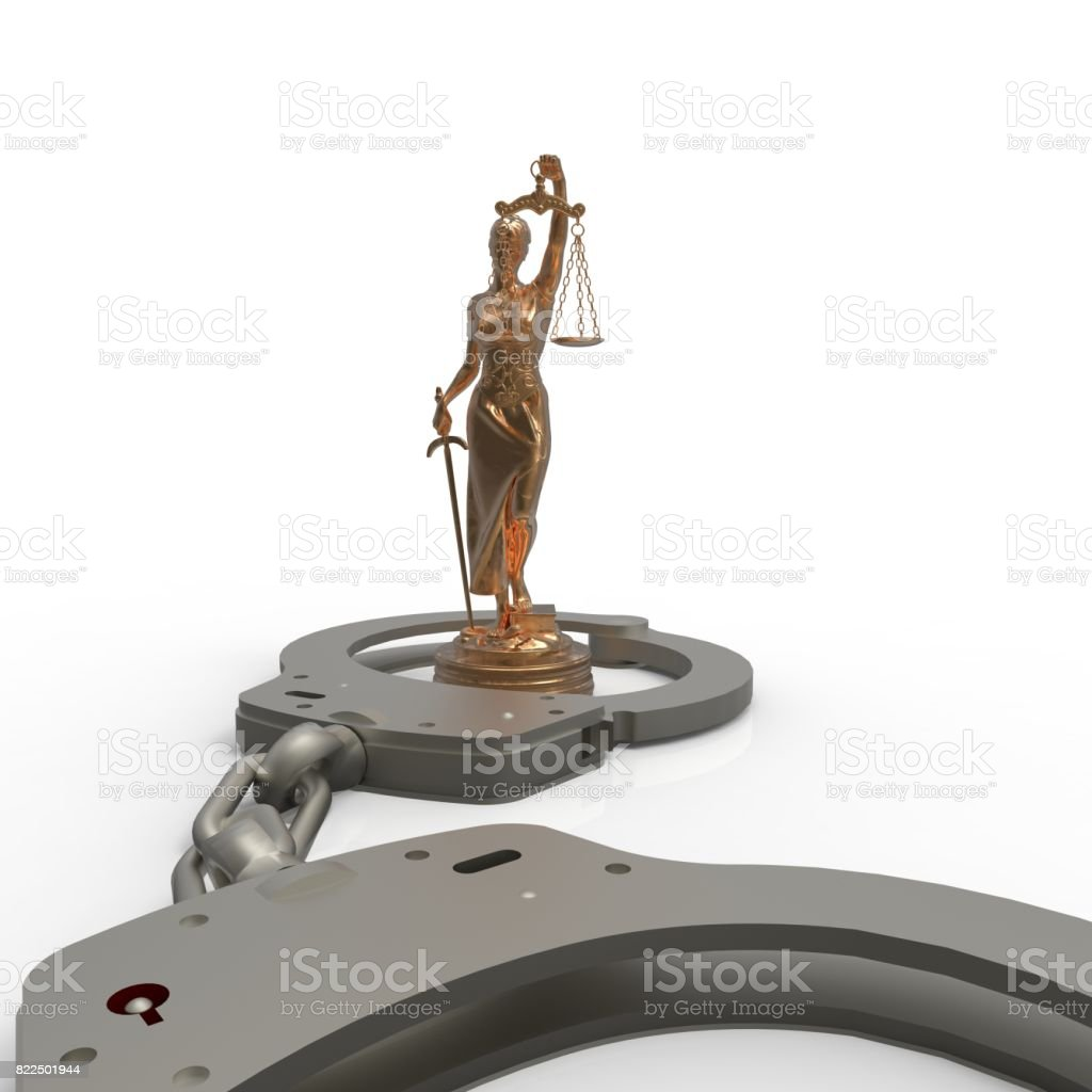 Legal law - scales of justice and handcuffs 3d rendering stock photo