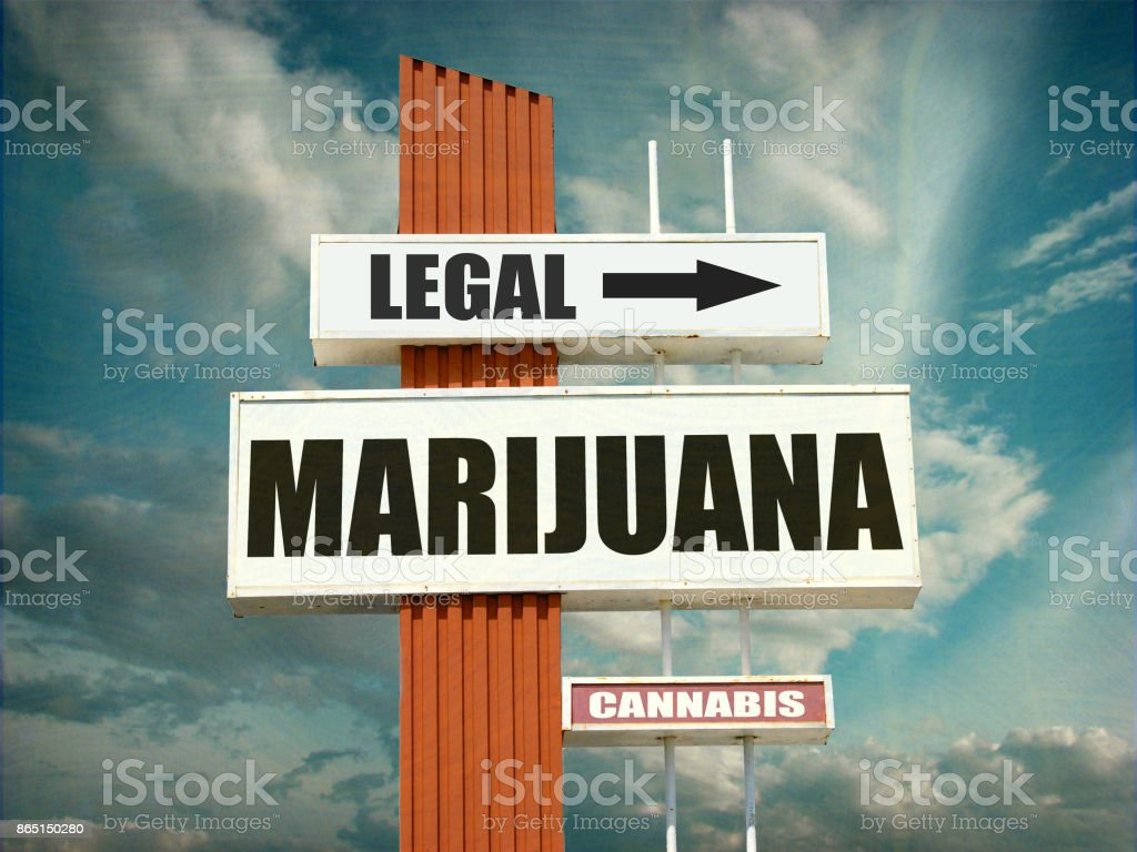 legal marijuana sign stock photo
