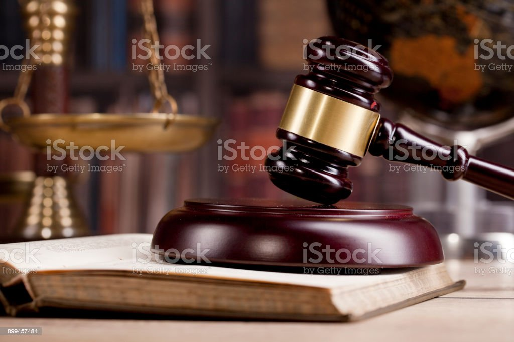Legal office. Judges gavel, law and justice concept. stock photo
