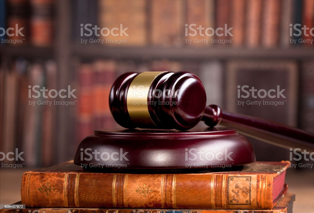 Legal office. Judges mallet, law and justice concept. stock photo