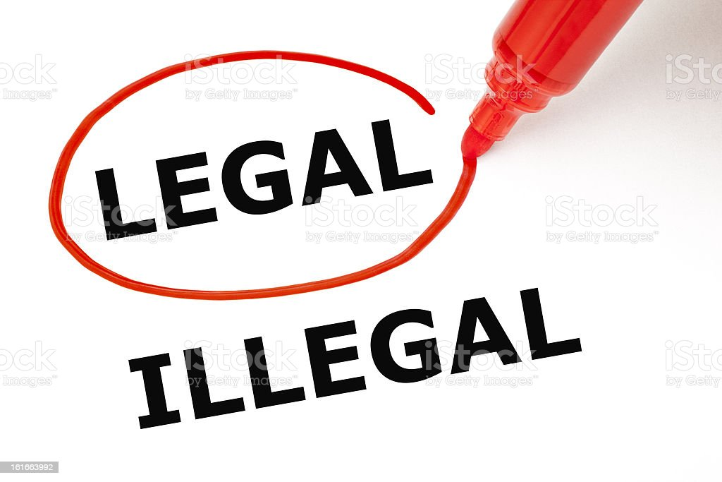 Legal or Illegal with Red Marker royalty-free stock photo