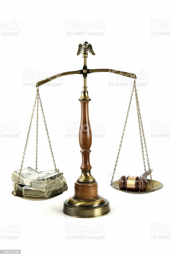 Legal Scales with Money and Gavel royalty-free stock photo