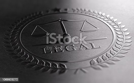 Legal sign design with scales of justice symbol printed on black background. 3D illustration
