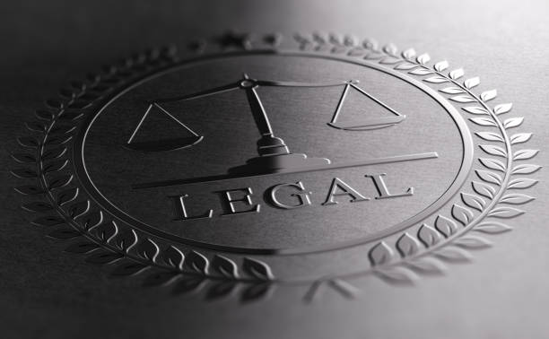 Legal Sign Design With Scales Of Justice Symbol. stock photo