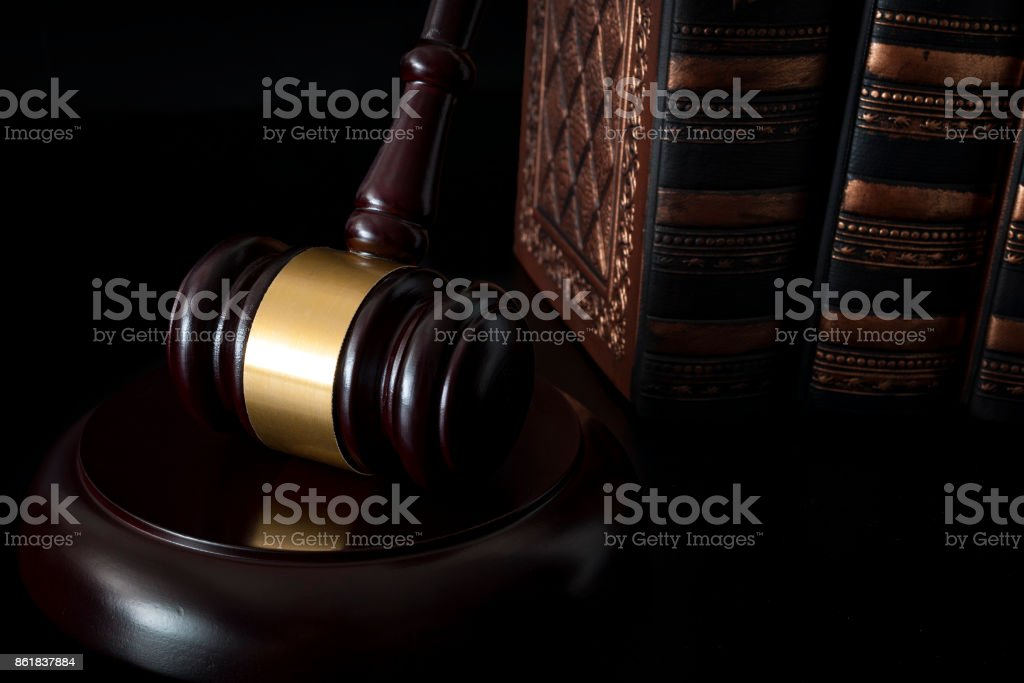 Legal system, due process  and courtroom documents and evidence concept stock photo