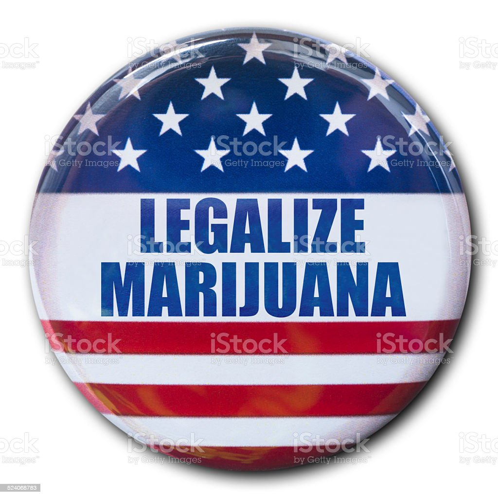 legalize marijuana badge button with the american flag stock photo