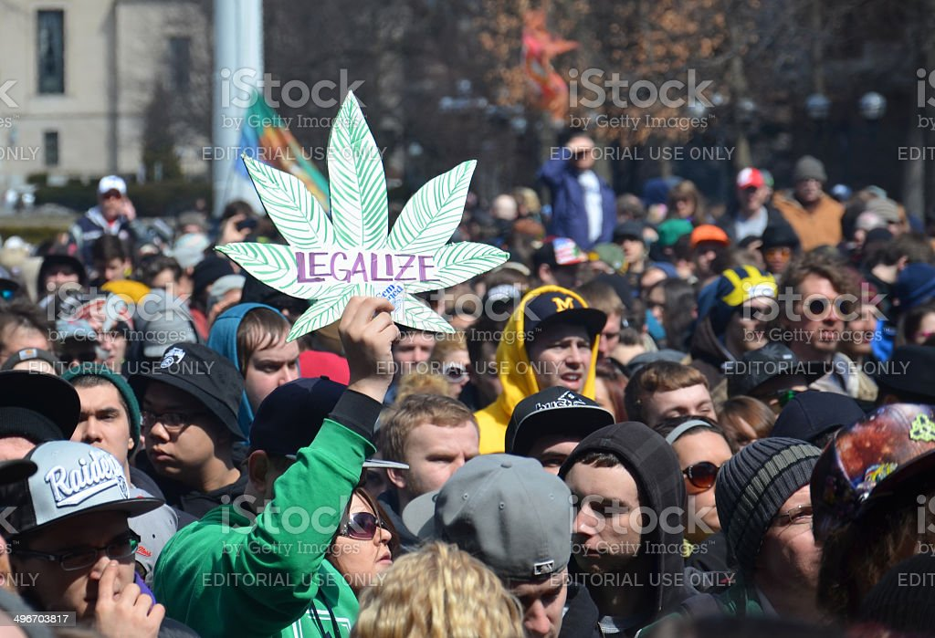 Legalize sign at Ann Arbor Hash Bash 2014 stock photo