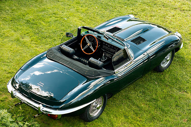Legendary British Classic Sports Car Jaguar E-Type S1 Roadster Fuerstenfeldbruck, Germany - September 19, 2015: A legendary British sports car 1964 Jaguar E-Type S1 Roadster in famous