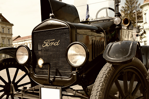 Zrenjanin;Vojivodina;Serbia-September 07,2016.Ford Model T from 1921 parked in the town square at the exhibition of old cars in Zrenjanin-Serbia as the first series production car by Ford Motor Company.