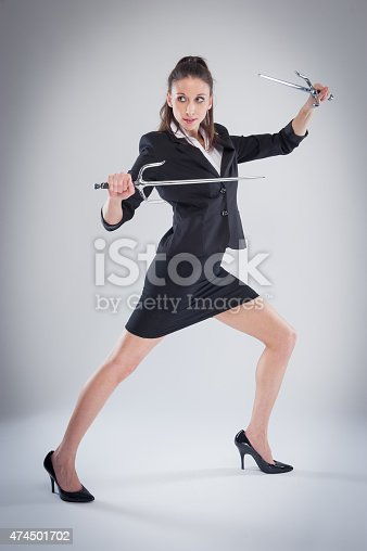 Woman in black suit means business.