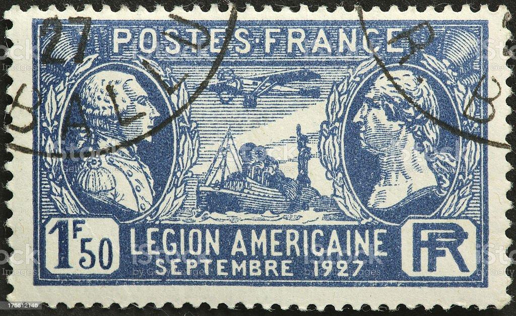 Legion Americaine French postage stamp stock photo