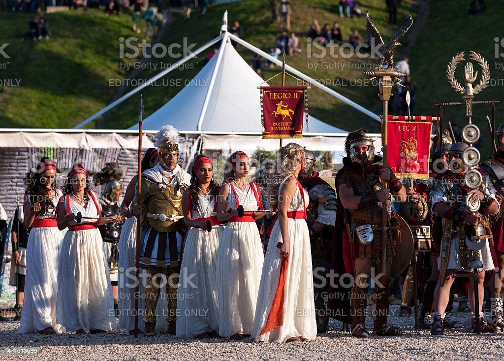 Legionaries, Mars and dancers stock photo