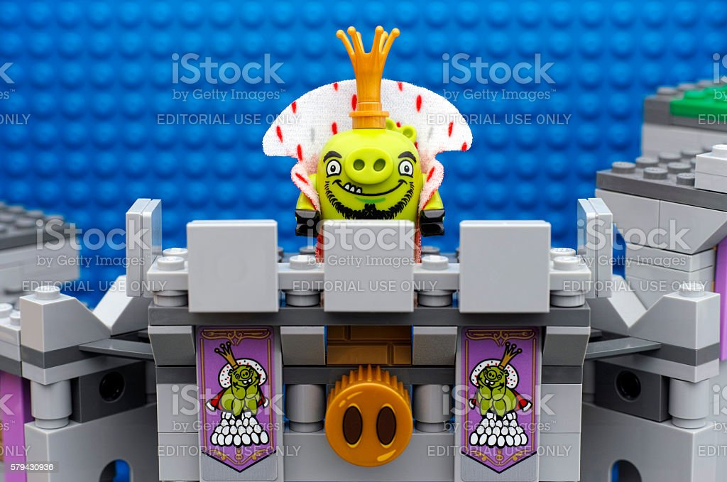 Lego Angry Birds King Pig Standing On Castle Balcony Stock Photo